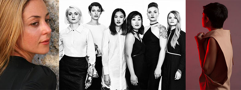 Left to right: composer Paola Prestini, The Nouveau Classical Project by Julia Comita, fashion designer Titania Inglis by Jeff Elstone