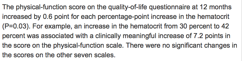 Screencap from Besarab et al, NEJM 1998, Results section