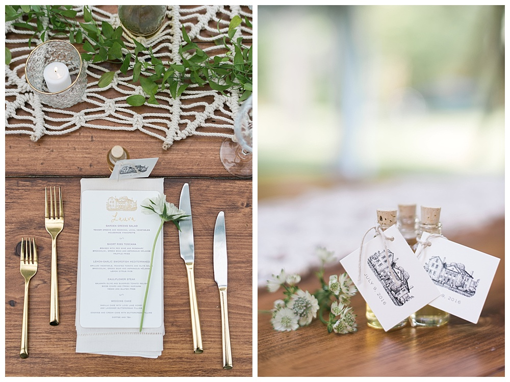boston farm table wedding with custom honey bottle wedding favors