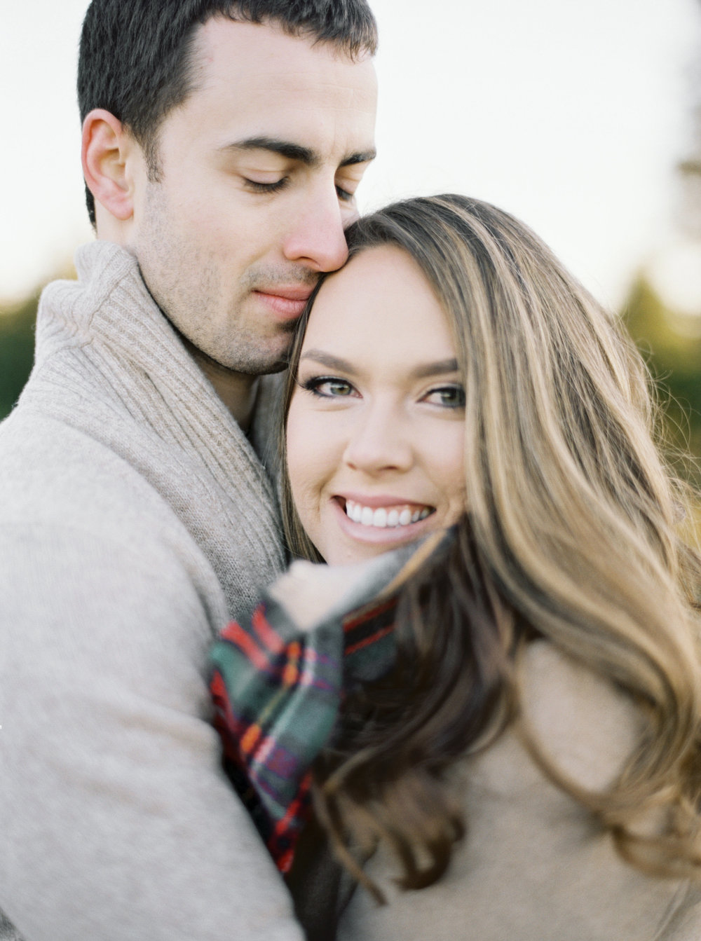 christmas tree farm engagement shoot