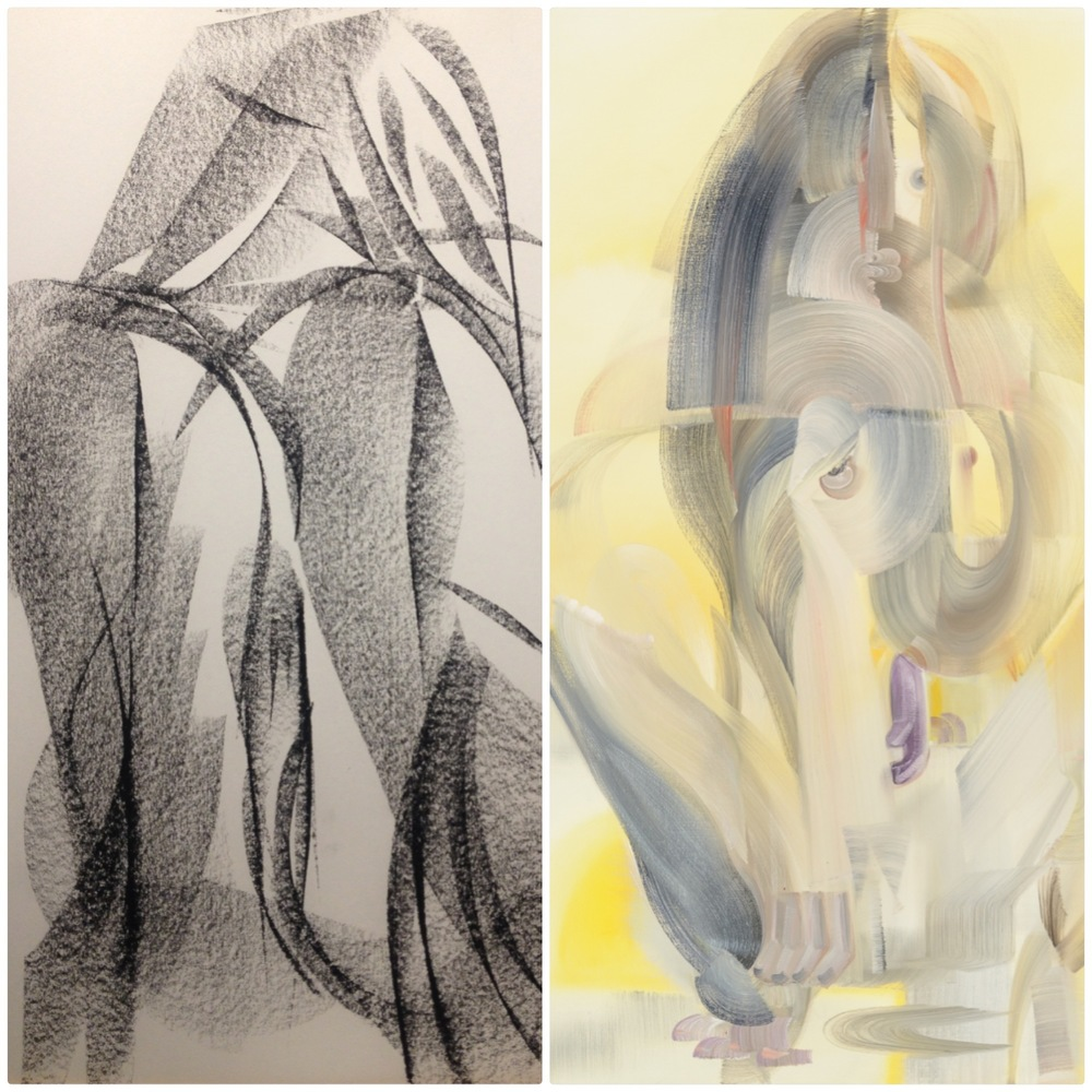 "drawing (17X11"") • painting (72X60"")"