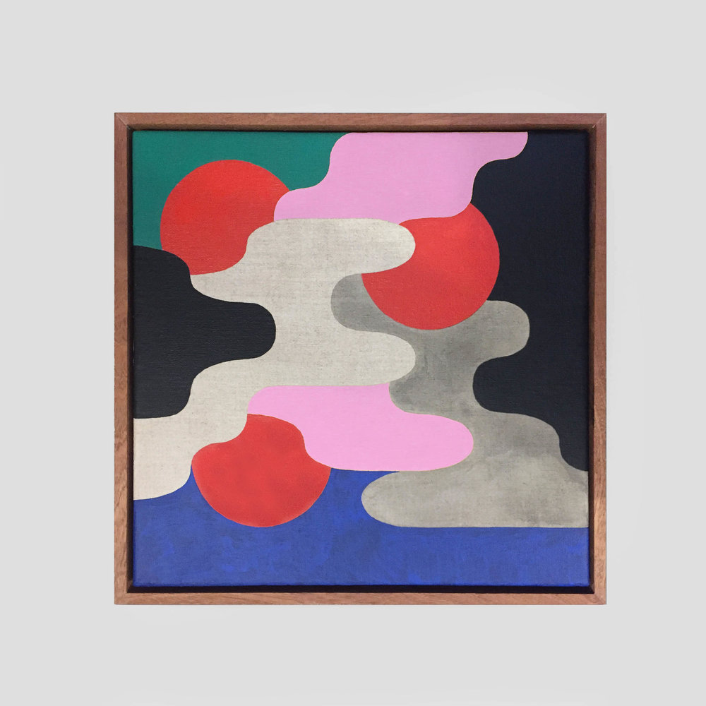 Square Composition No. 10   41 x 41 cm | acrylic on linen, sapele frame | 2018