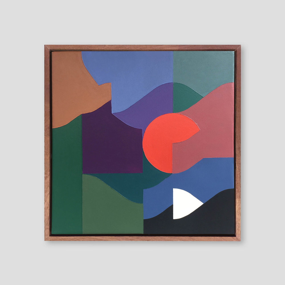 Square Composition No. 12   40 x 40 cm | acrylic on canvas, sapele frame | 2018
