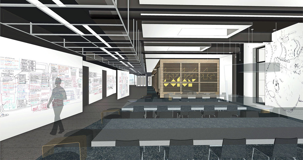 One of my early renderings of the Lounge space--this is before we knew we would have a coffee shop or rainbow LED lights!