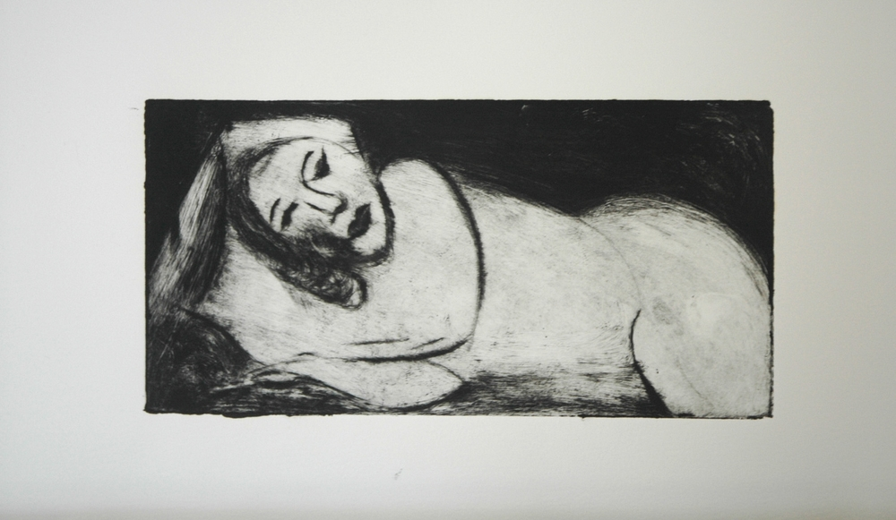 Reclining Woman   — Dry Point Etching on Heavy Paper, 2004            CLICK  for  VISUAL ART GALLERY