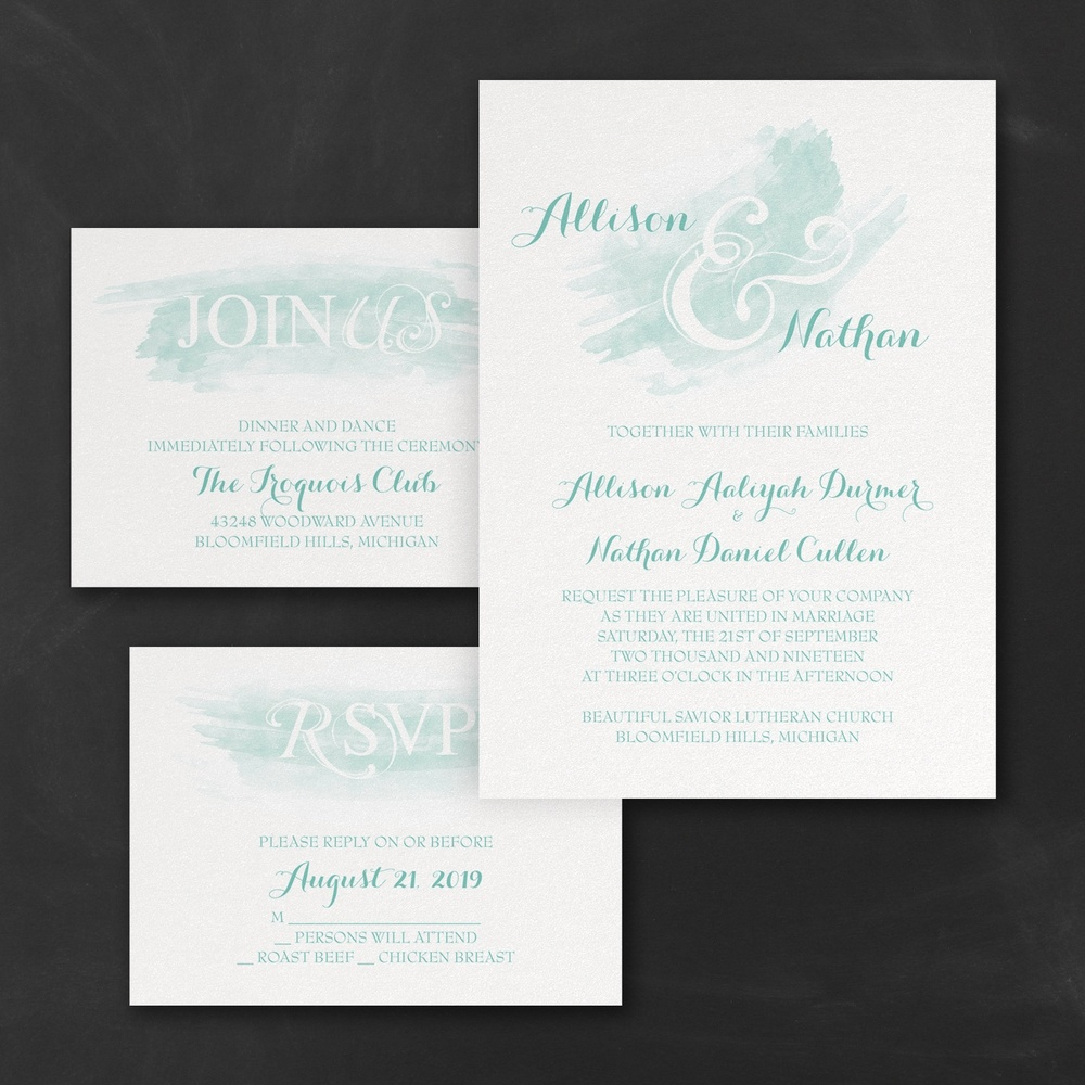 Watercolor Swish - Invitations Set - Lagoon