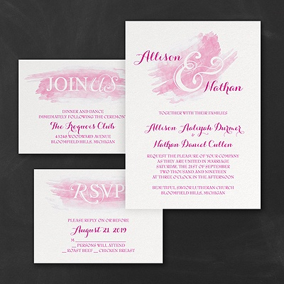 Watercolor Swish - Invitations Set - Fuchsia
