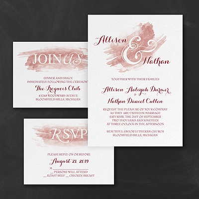 Watercolor Swish - Invitations Set - Claret
