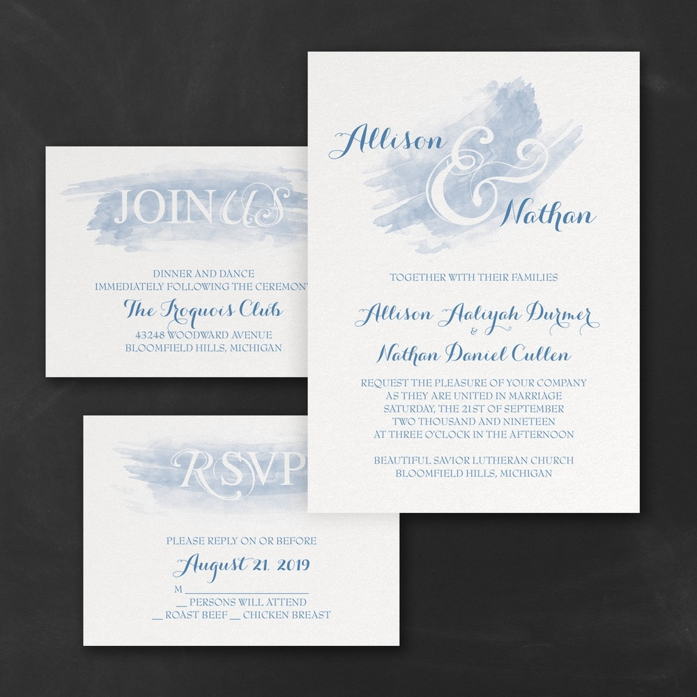 Watercolor Swish - Invitations Set - Periwinkle
