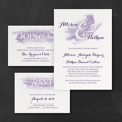 Watercolor Swish - Invitations Set - Violet