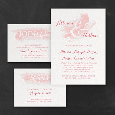 Watercolor Swish - Invitations Set - Coral