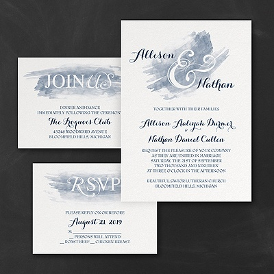 Watercolor Swish - Invitations Set - Navy