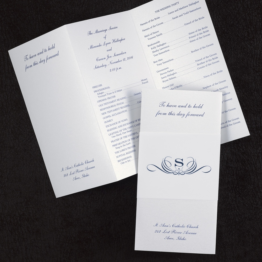 Stylish Wrap - Wedding Program - White Shimmer  $197.90 Per 100