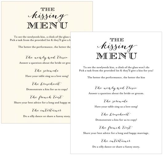 Kissing Menu Cards - B