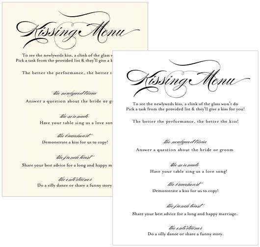 Kissing Menu Cards - C
