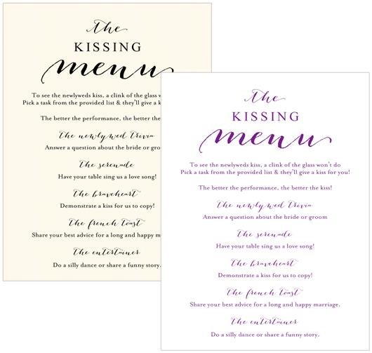 Kissing Menu Cards - A