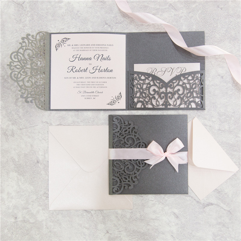 Exquisite Tri-fold - Grey Shimmer