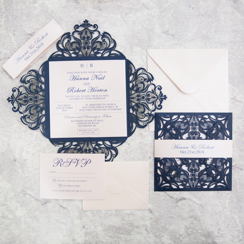 Navy Blue Floral Lace - Glittering Navy