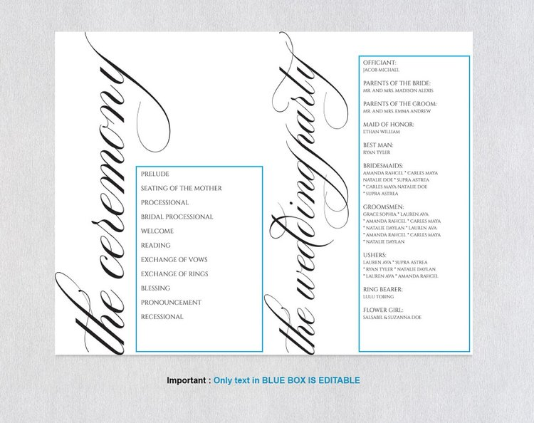 Folded Wedding Program Template365