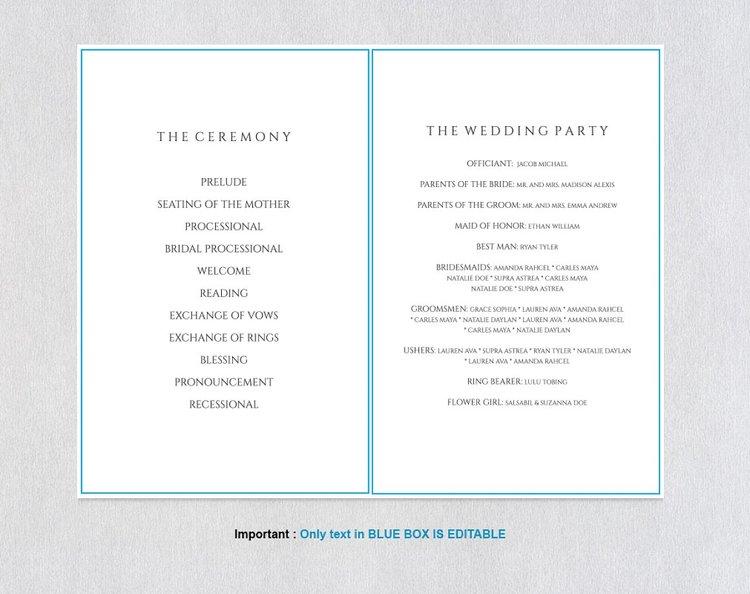 Folded Wedding Program Template366