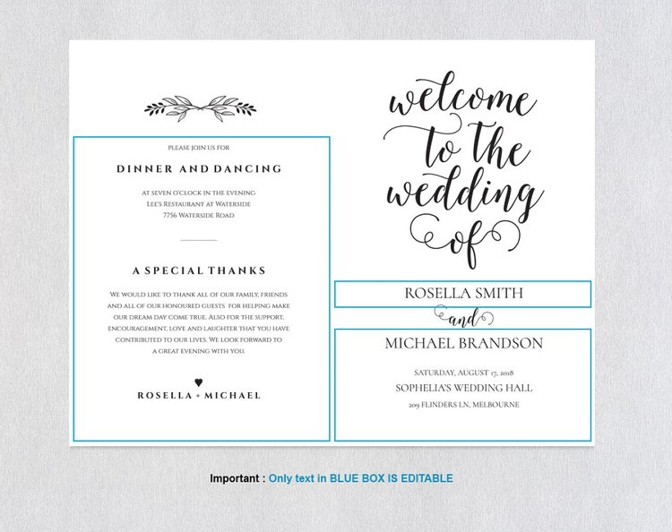folded wedding program template364 ksw exclusive invitations