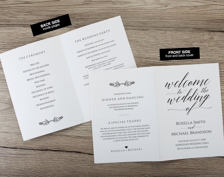 folded wedding program template360 ksw exclusive invitations