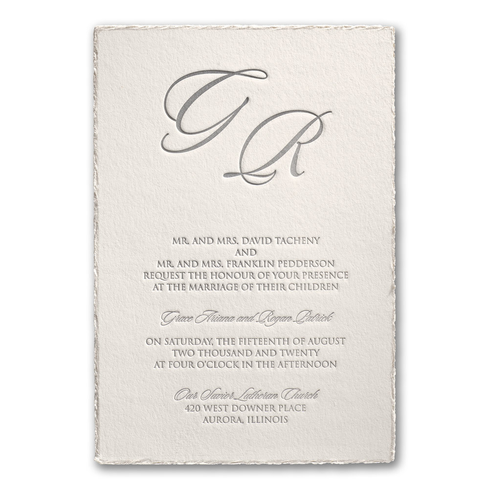 Deckled in Pearl - Invitation
