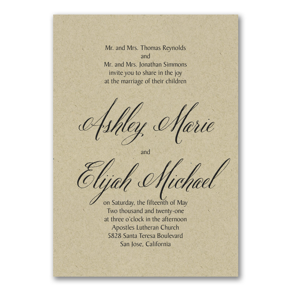 Regal Type Invitation - Kraft