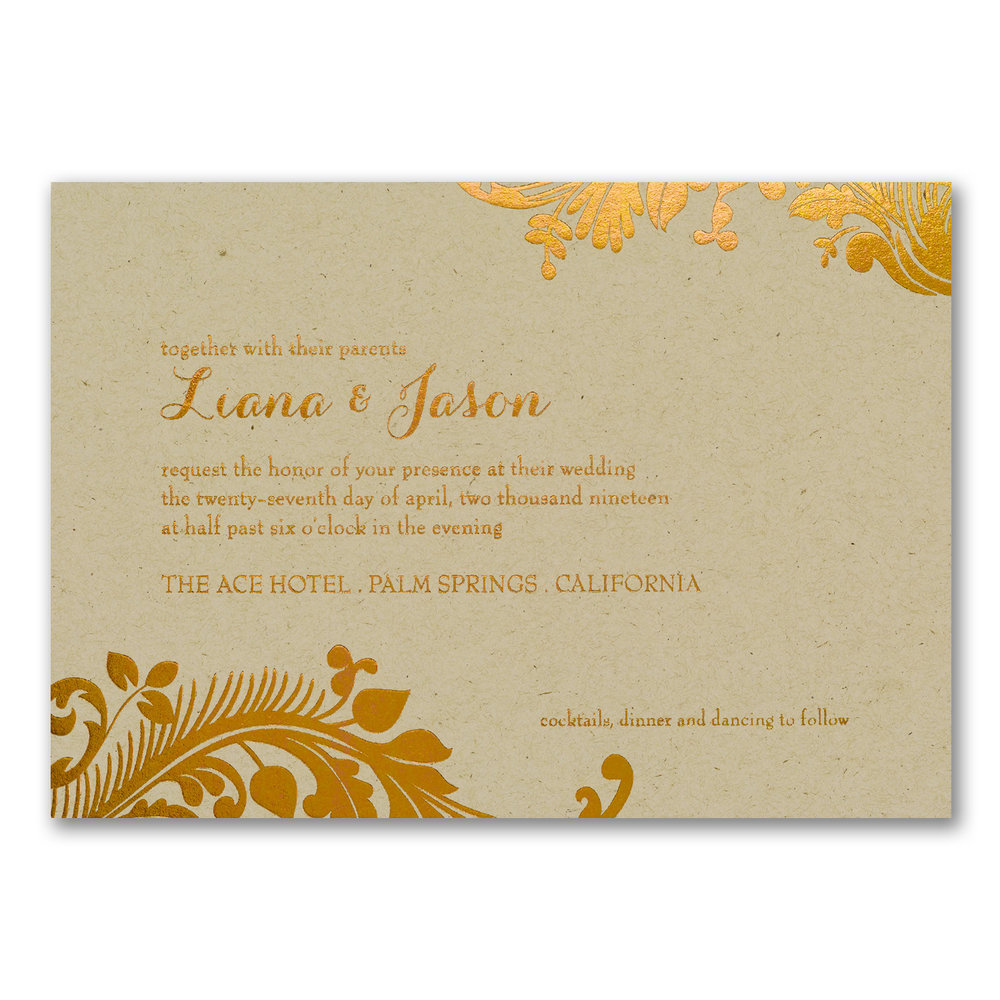 Damask Scroll - Invitation - Kraft