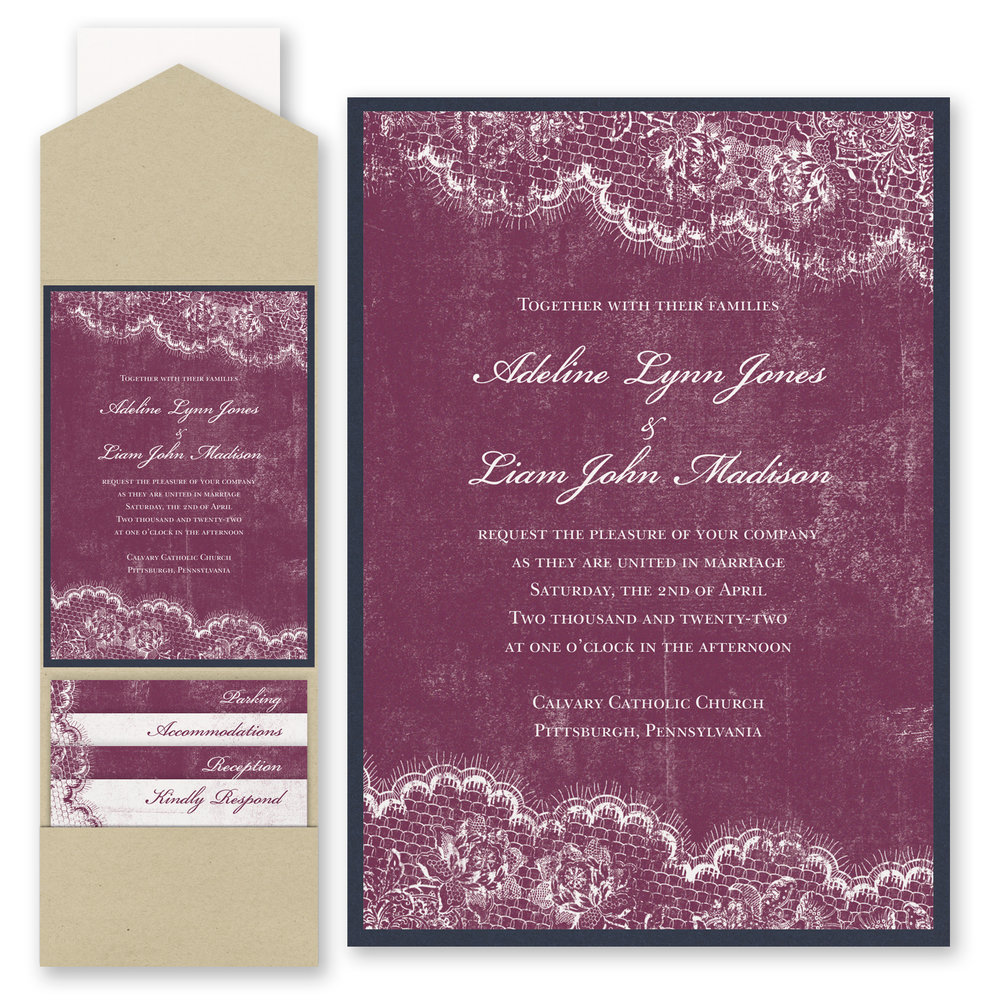 Timeless Lace - Invitation with Pocket