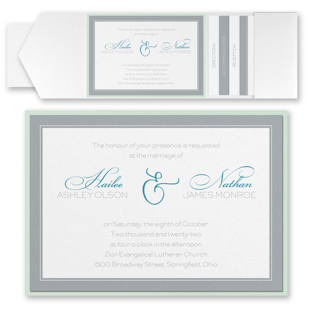 Romantic Border - Invitation with Pocket
