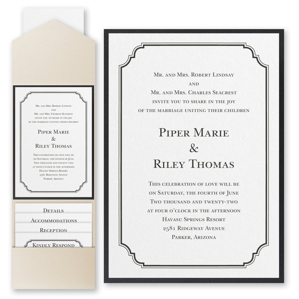 Elegant Crest - Invitation with Pocket