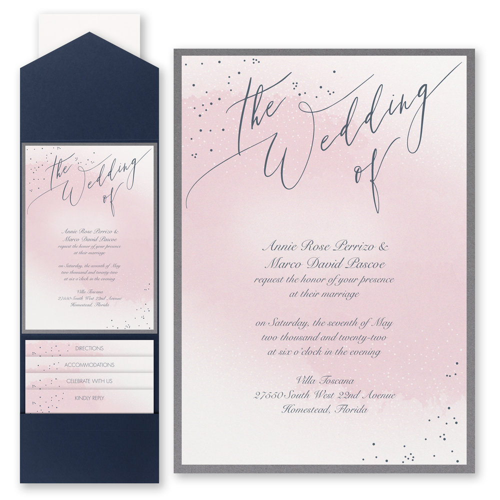 Champagne Wedding - Invitation with Pocket
