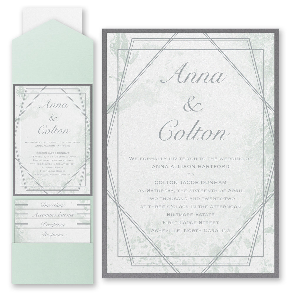 Dazzling Geometric - Invitation with Pocket