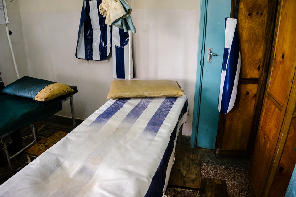 The two-bed delivery room at Bumula Health Center. In addition to deliveries, staff also perform clandestine abortions here.