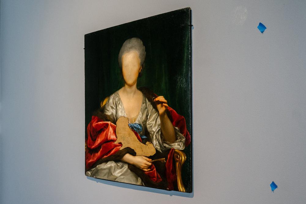 """Portrait of Mariana de Silva y Sarmiento, Duquesa de Huescar (1740–1784),"" by Anton Raphael Mengs from the exhibition ""Unfinished,"" at the Met Breuer."