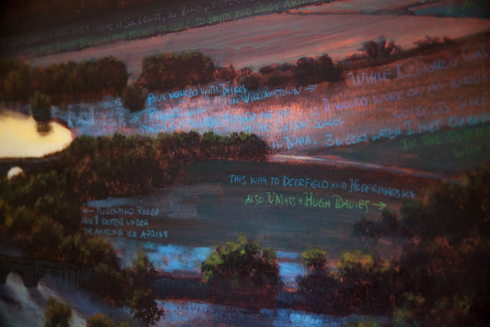 """A detail of """"The Oxbow, Flooded For Frank Moore and Dan Hodermarsky,"""" by Stephen Hannock from the exhibition """"River Crossings,"""" at the Thomas Cole House."""