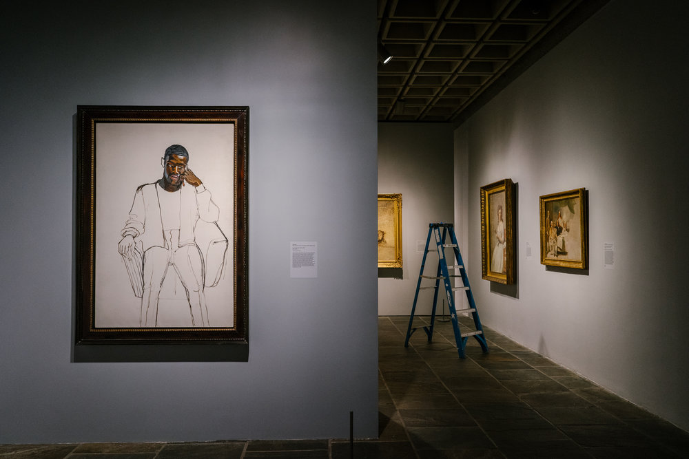 """""""James Hunter Black Draftee,"""" by Alice Neel from the exhibition """"Unfinished,"""" at the Met Breuer."""