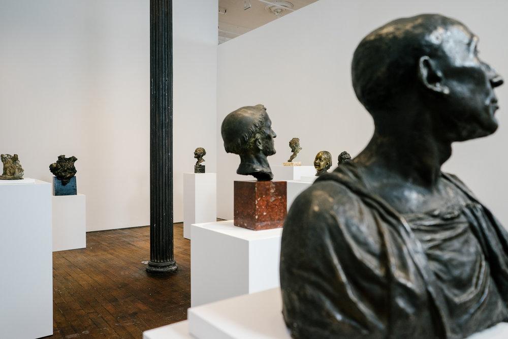 "Various sculptures by Medardo Rosso from the exhibition ""Medardo Rosso: Ten Bronzes,"" at Peter Freeman Inc."