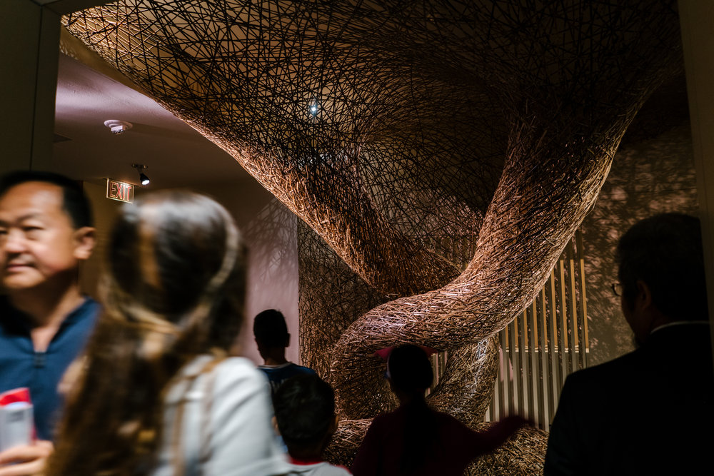 """""""The Gate,"""" a site-specific installation by Tanabe Chikuunsai IV from the exhibition """"Japanese Bamboo,"""" at the Metropolitan Museum of Art."""