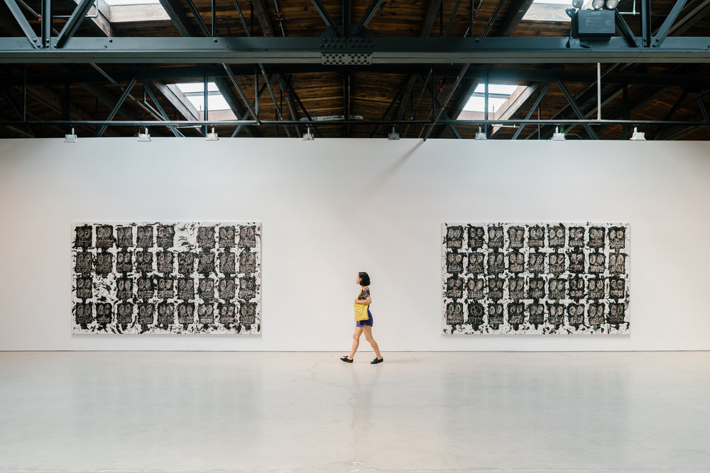 """""""Untitled Anxious Audience,"""" by Rashid Johnson from the exhibition """"Fly Away,"""" at Hauser & Wirth."""