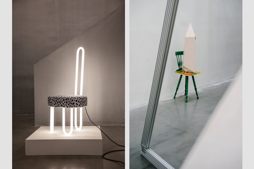 """L: """"Neon Chair,"""" by Trix and Robert Haussmann from the exhibition """"Work Hard: Selections by Valentin Carron,"""" at Swiss Institute. R: An untitled sculpture by by Andra Ursuţa  from the exhibition """"Alps,"""" at the New Museum."""