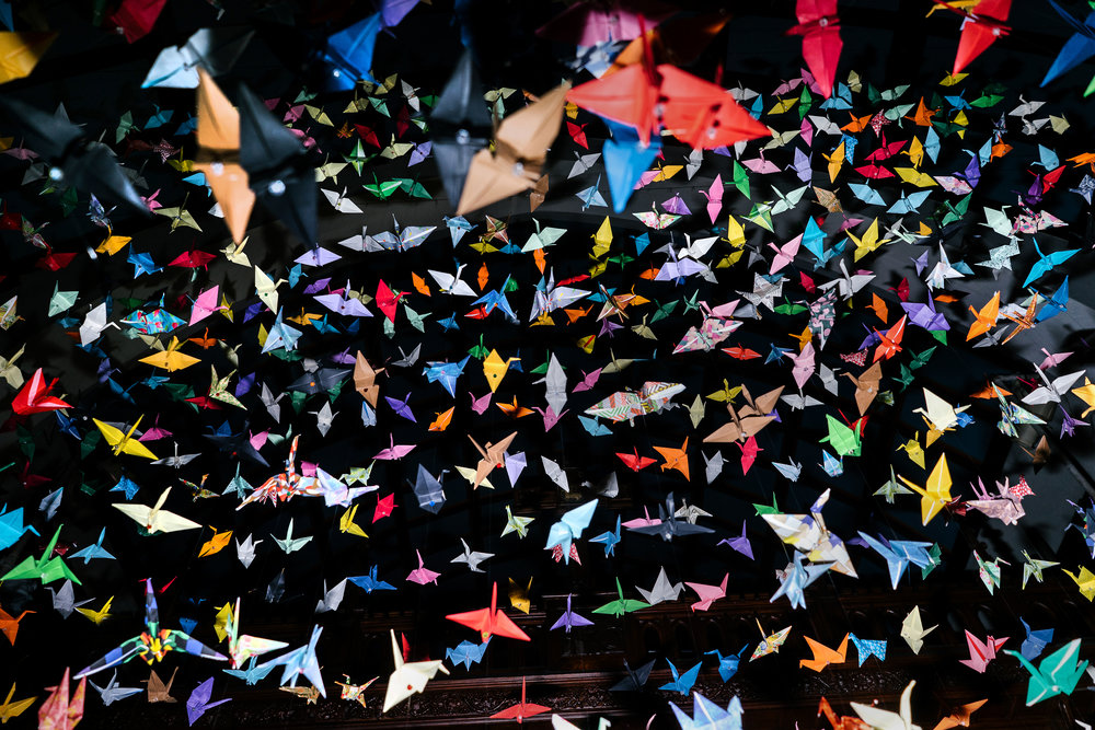 Shawn was settled in California with the assistance of St. Luke's, a church in Long Beach, California. Here, paper cranes are suspended above the altar at St. Luke's.