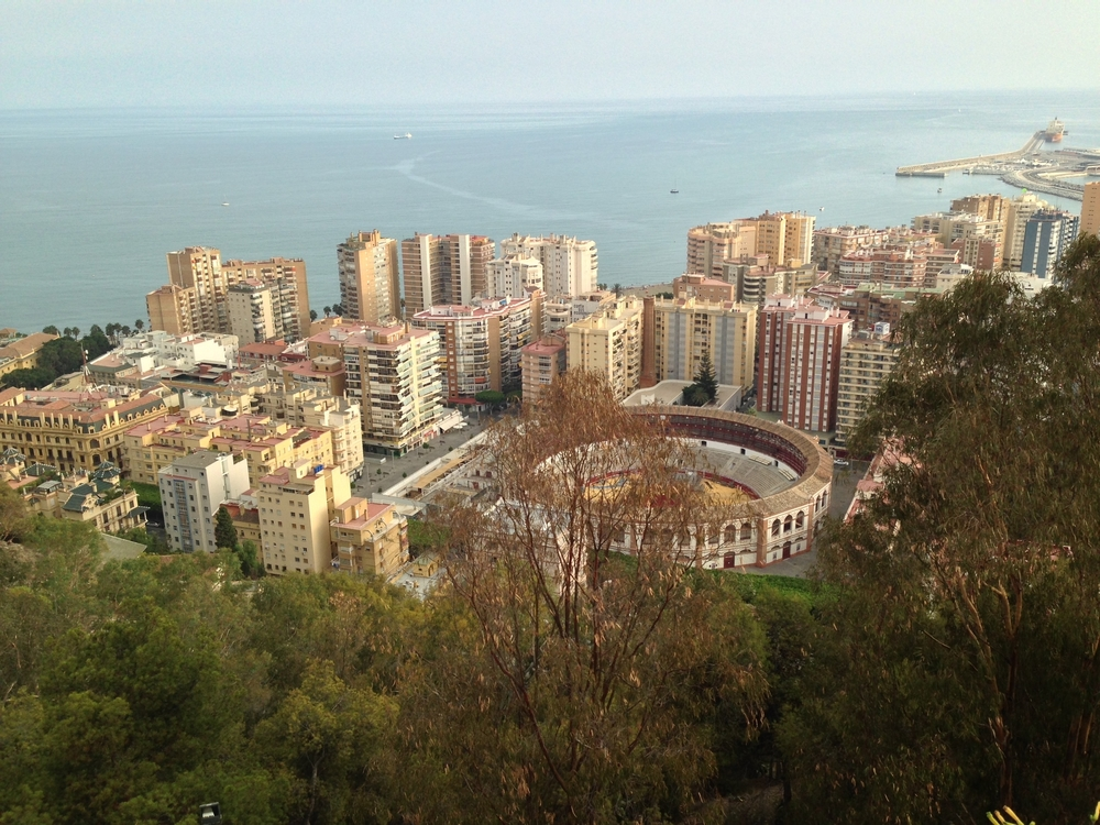 Aerial View of the City of Malaga towards the Mediterranean Sea.