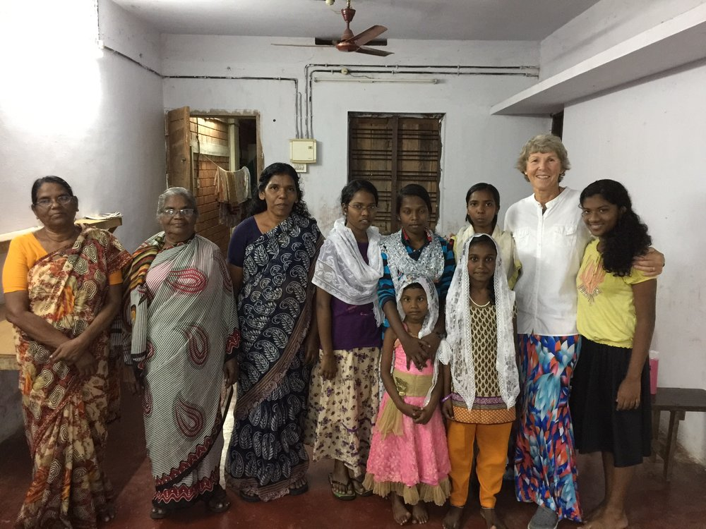 With Orphanage lady staffs and children. Shibu & Julie's daughter Abby at my left.