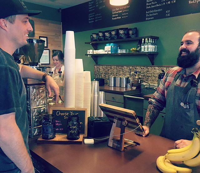 We heart our regulars and are so grateful we get to serve you amazing coffee every day. Featured here @brandon_cole and @ahcustomburning #community #craftcoffee #regulars #shoutout