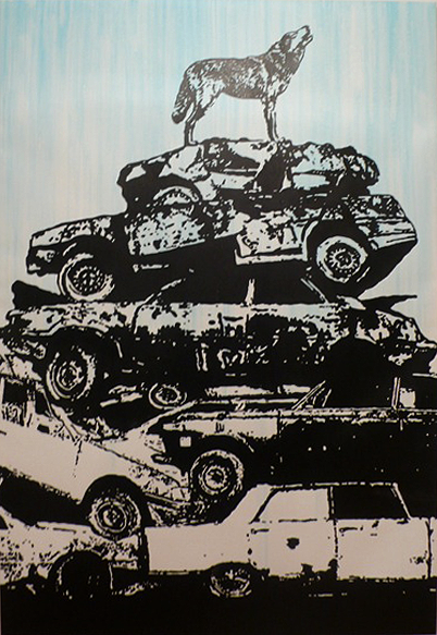 Victor Ash (Copenhagen) Car Mountain 2010 Acrylic and Spray Paint on Canvas
