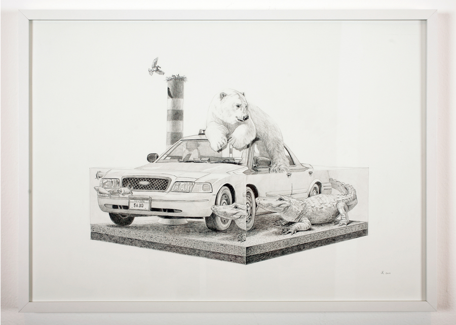 Josh Keyes (Portland) Tangled III 2011 Graphite on Paper