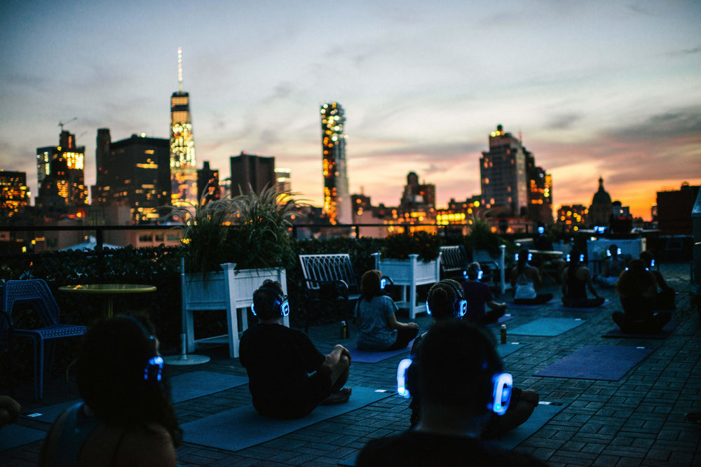 Yoga and Meditation on the Roof Garden at MEET on Bowery. (Photo Paul Rivera)