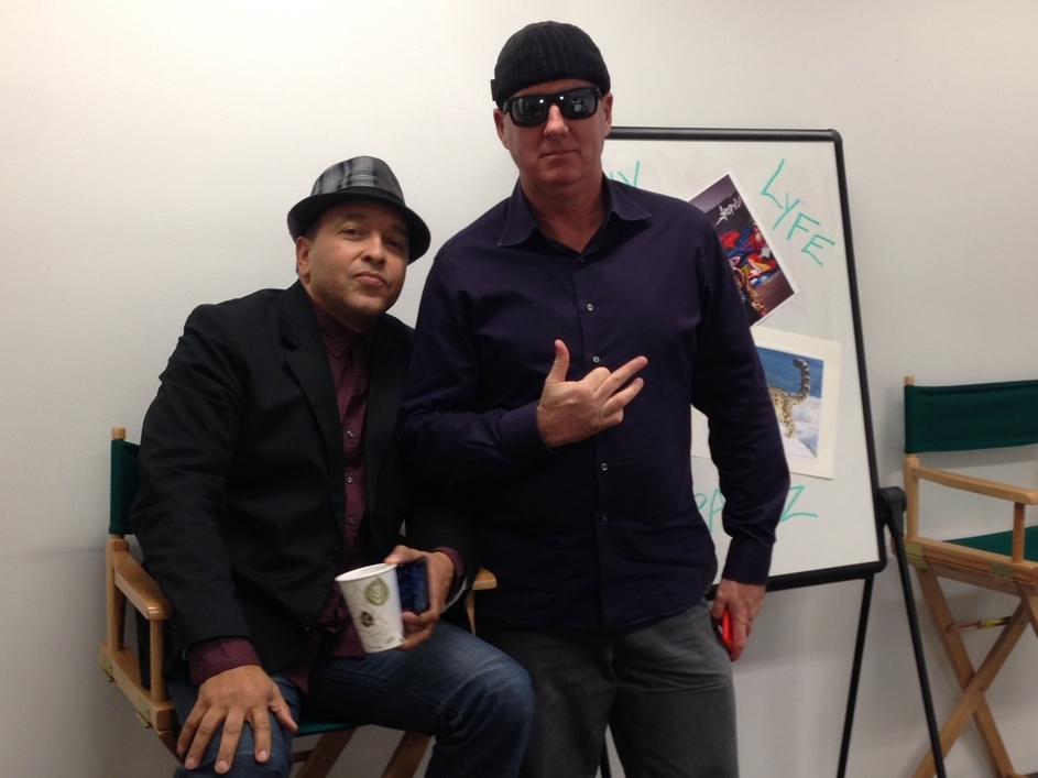 JC Montgomery and Brian Russell as G-Rap on set